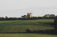 A clear view across fields to the Church