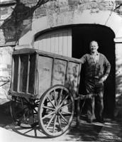 Fred England and his baker's cart acquired from Doughy Course